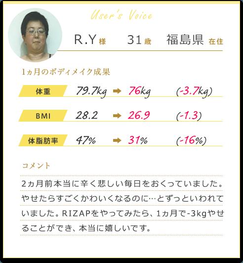 R.Y様31歳福島県在住 1カ月のボディメイク成果 体重79.7Kgから76Kg(-3.7Kg)BMI 28.2から26.9(-1.3)体脂肪率47%から31%(-16%)コメント 2ヵ月前本当に辛く悲しい毎日をおくっていました。やせたらすごくかわいくなるのに…とずっといわれていました。RIZAPをやってみたら、1ヵ月で-3kgやせることができ、本当に嬉しいです。